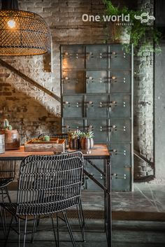 rustic industrial decor with stones/ wood & steel Modern Industrial Decor, Industrial Office Design, Industrial Living, Industrial Interiors, Industrial Style, Home Design, Room Interior Design, Decorating Your Home, Interior Decorating