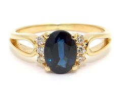 18k Yellow Gold 1.50ct Oval Cut Blue Sapphire Diamond Promise Solitaire Ring Size 7.5