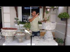 Como fazer vaso de cimento taça grande, mais fácil, jarro passo a passo, Concrete cup vase - YouTube Concrete Bird Bath, Cement Garden, Concrete Cement, Porch Garden, Garden Junk, Double Seed Stitch, Rock Planters, Papercrete, Portland Cement