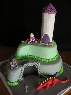 Princess, Knight, and dragon cake