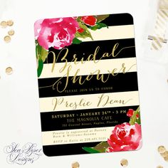Black, Ivory, Cream Stripes & Gold Foil with Pink Floral Details Bridal Shower Invitation - The Back is SO precious.