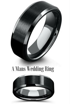 Mens black tungsten wedding ring with a modern design and look. This mens wedding ring has been designed wit ha matte center and polished tapered edges.