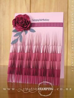 Ombré is a popular trend in paper crafting at present, and I had a lot of fun using the ombré effect with the Fringe Scissors and graduating tones of colour.  Here's a pink fringed card, finished with a Spiral Flower (a CASE from Valerie Moody: http://stampingwithval.wordpress.com/tag/fringe-scissors/).  From top-down: Blushing Bride, Primrose Petals and Raspberry Ripple.  www.creativestamping.co.nz | Stampin' Up! | Occasions Catalogue