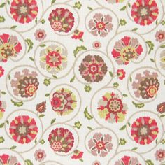 The G7956 Citrus upholstery fabric by KOVI Fabrics features Floral, Ikat, Scroll, Suzani pattern and Pink, Red as its colors. It is a Cotton, Made in USA type of upholstery fabric and it is made of 100% Cotton material. It is rated Exceeds 15,000 double rubs (heavy duty) which makes this upholstery fabric ideal for residential, commercial and hospitality upholstery projects.For help please call 800-860-3105.