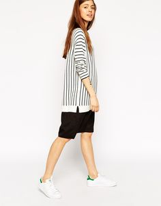 ASOS+Jumper+Dress+In+Stripe+With+Woven+Skirt