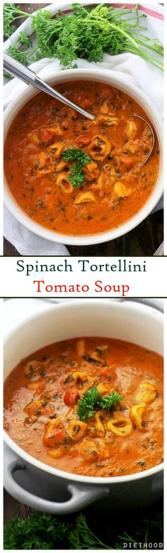 Spinach Tortellini Tomato Soup - Hearty, delicious, yet quick and easy Tomato Soup, packed with spinach and tortellini. from start to finish! Soup season is the best season. Soup Recipes, Vegetarian Recipes, Cooking Recipes, Healthy Recipes, Cooking Cake, Recipies, I Love Food, Good Food, Yummy Food