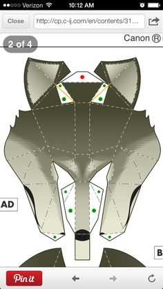 Wolf mask template, large