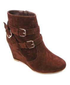 Another great find on #zulily! Brown Jala Wedge Bootie #zulilyfinds