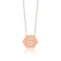 Made Simply Boutique's Hexagon Necklace in Rose Gold, Letter S