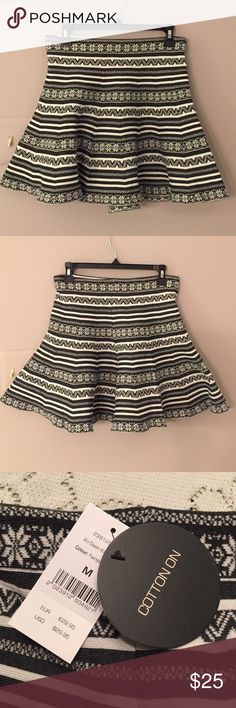 """Cotton On✨Skater Skirt Tribal print black and white printed skirt. 17 1/2"""" length. Heavy weighted fabric. Cotton On Skirts"""