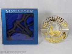 Singapore Metal Silver & Gold Tone Souvenir Collector Plate & Easel Stand NEW OB