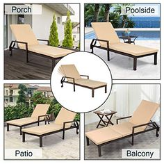 REDCAMP Tanning Lounge Chair for Outside Reclining Foldable Outdoor Sun Lounger Cot Bed with Pillow for Adults Beach Sunbathing Grey Black