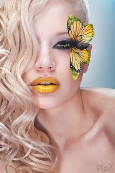 #BORBOLETA  #MARIPOSA , #yellow , #make , #woman