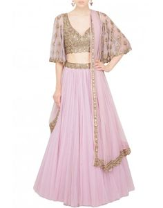 ARPITA MEHTA  Rose pink lehenga and bell sleeves blouse set    AU$1,371.00