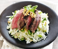 This Thai-inspired salad has that classic tart-sweet-spicy flavor balance that really gets your taste buds dancing. The cool, crunchy herb-laced salad is the yin to the yang of the rich tender beef. WhatÂ's more, the food processor does most of the work. Best Grilled Steak, Grilled Steak Recipes, Grilling Recipes, Beef Recipes, Cooking Recipes, Healthy Recipes, Recipies, Apple Salad Recipes, Clean Eating