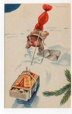 Aukrust Christmas Greeting Cards, Christmas Greetings, Christmas Postcards, Norwegian Christmas, Leprechaun, Troll, Goblin, Vintage Cards, Gnomes