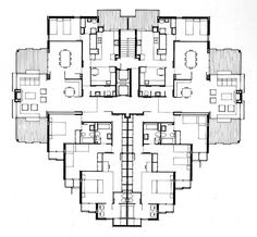 super neato floor plan for multi family French Architecture, Architecture Graphics, Concept Architecture, Architecture Drawings, Architecture Design, Sims 3 Houses Plans, House Plans, Residential Complex, Residential Architecture