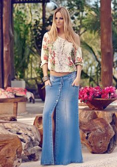 women's spring summer fashion floral left off shoulder shirt+gothic alloy bracelet+denim long button down front split skirt Maxi Skirt Outfits, Long Maxi Skirts, Denim Fashion, Girl Fashion, Fashion Outfits, Mom Outfits, Casual Outfits, Summer Outfits, Jean Moda