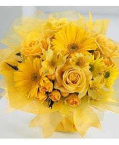 Bring sunshine to your recipient's day with the cheerful Yellow Vibrance Bouquet from Avas Flowers. A beautiful assembly of yellow flowers consisting of roses, daisy pompons, Gerbera daisies, and alstroemeria will surely be a hit.