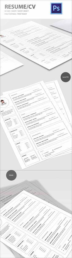 free resume psd cv template