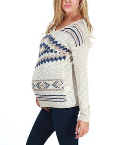 Take a look at this Beige Tribal Maternity Sweater by PinkBlush Maternity on #zulily today!