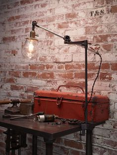 Articulated, industrial desk lights and floor lamps. Available at Rejuvenation. Vintage Industrial Bedroom, Industrial Desk, Industrial Style, Desk Light, Light Table, Steampunk Lamp, Floor Lamps, Desk Lamp, House Design