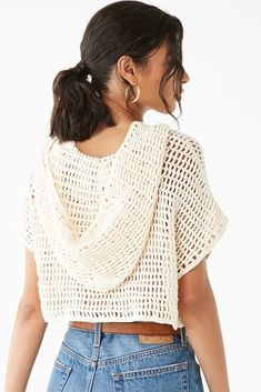 Hooded Open-Knit Crop Top Details An open-knit top featuring a hood, short dolman sleeves, and boxy cropped silhouette. - Layering garments not included. Crochet Crop Top, Crochet Cardigan, Knit Crochet, Doilies Crochet, Crochet Tops, Crochet Fashion, Diy Fashion, Petite Fashion, Curvy Fashion