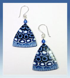Denim Blue Fan Drop Earrings polymer jewelry by BeadazzleMe, $14.00