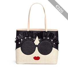 Alice + Olivia 'Stace Face' embellished straw tote