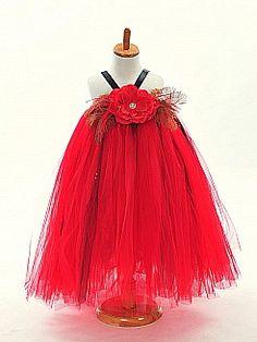 Flower Embellished Tulle Flower Girl Dress with Contrasting Straps - USD $52.99