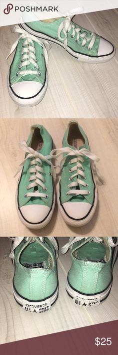 Converse mint green low top sneakers size 7 Nice condition, a little dirty around shoelace holes. Unisex women's size 7 or men's size 5 Converse Shoes Sneakers