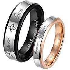 """JewelryWe Bijoux Bague Homme Femme Appariement """"forever love"""" Mariage Acier Inoxydable Couples Anneaux 2pcs Avec Sac Cadeau(Email tailles)"""