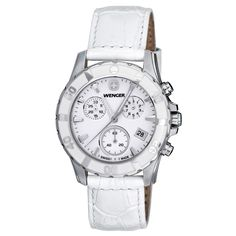 Wenger 70744 Women's Sport Elegance White MOP Dial White Leather Strap Chronograph Watch