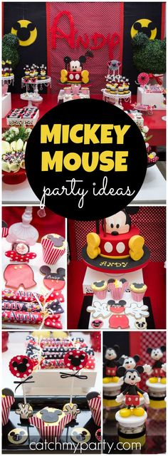 How fun is this Mickey Mouse party in red, black and yellow! See more party ideas at CatchMyParty.com!