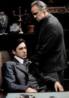"""[CAST] Al Pacino (1940- , age 32) as Michael Corleone and Marlon Brando (1924–2004, age 48) as Don Vito Corleone in """"The Godfather"""", 1972"""