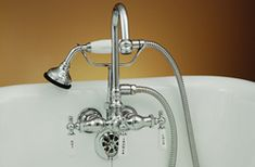 Strom Plumbing - Gooseneck Clawfoot Tub Faucet with Handheld Shower