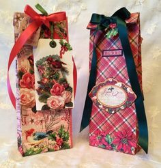 Day 2: Anne makes these beautiful Twelve Days of Christmas gift bags - perfect to make your gift wrap stand out! Click to find the tutorial #graphic45 #giftwrap #12daysofgifttutorials