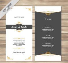 Elegant wedding menu vector