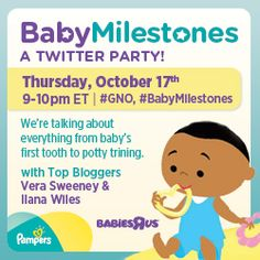 Join @BabiesRUs and Mom It Forward for a #gno Twitter party tonight - Thursday, Oct. 17 from 9-10 p.m. ET (8CT, 7MT, 6PT) #BabyMilestones. We will be chatting about milestones and giving away a $50 Gift Card. #Giveaway #TwitterParty http://momitforward.com/babiesrus-thursday-gno-twitter-party
