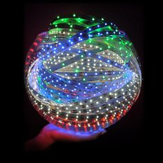 LED lights- A big amount of light in a small package! 5,109 White, Red, Green, and Blue LEDs make up this fishbowl full of light #beauty #diy #lighting