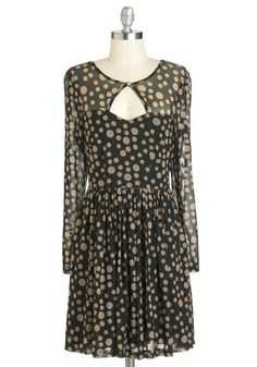 Bit of Bubbly Dress by Sugarhill Boutique - Black, Tan / Cream, Polka Dots, Party, A-line, Long Sleeve, Mid-length, Cutout, International Designer
