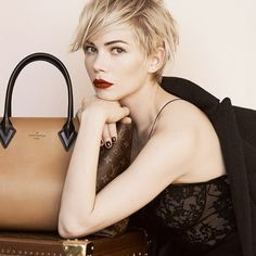 Michelle Williams in brownish orange red lipstick #wakeup & dark nails  I Louis Vuitton Fall 2013 Ad Campaign