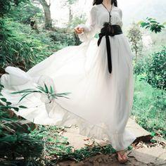 원피스/2014 봄과 여름 빈티지 왕실 흰색 쉬폰 랜턴 슬리브 긴 소매 드레스 바닥 길이 드레스 여성 2014 spring and summer vintage royal white