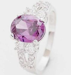 G076: 10K White Gold Filled Amethyst Ring, Size 7.5, Lab created stones