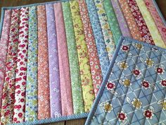 FLIP & SEW METHOD (straight strips): Layer backing + batting + 1st strip RS up + 2nd strip RS down. Sew 1st seam, then flip 2nd strip over RS up. No extra quilting needed if strip is narrow. Continue adding strips and flipping them over.