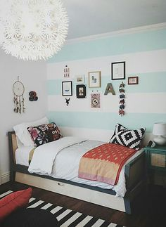 wide horizontal stripe painted bedroom walls, nursery to teen room design interior design 2012 designs interior decorating home design Teen Room Designs, Living Room Designs, Bedroom Designs, Teenage Girl Bedrooms, Girls Bedroom, Girl Rooms, White Bedroom, Teal Teen Bedrooms, Striped Walls Bedroom