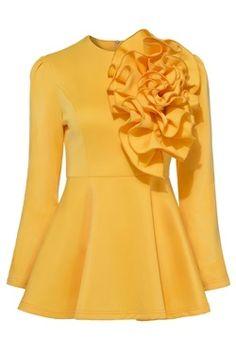 Applique Back Zipper Plain Women's Blouse Yellow Fashion, Love Fashion, Autumn Fashion, Womens Fashion, Look 2018, Mode Vintage, African Dress, Mode Inspiration, African Fashion