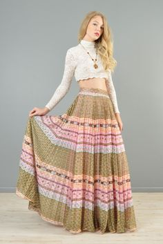 1970s Ethnic Striped Lace Maxi Skirt   BUSTOWN MODERN