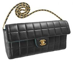 Chanel Classic Black Chocolate Bar Quilted Lambskin Clutch Bag