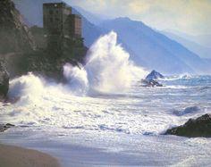 Monterosso castle ruins, Cinque Terre, Italy.  12th c.